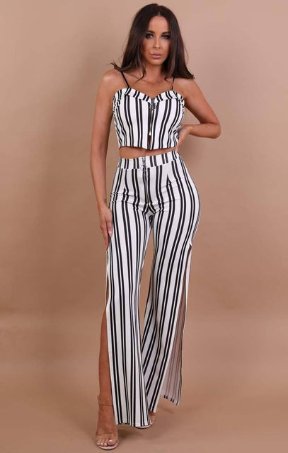 White Stripe Zip Up Two Piece Co-ord Set - Makayla