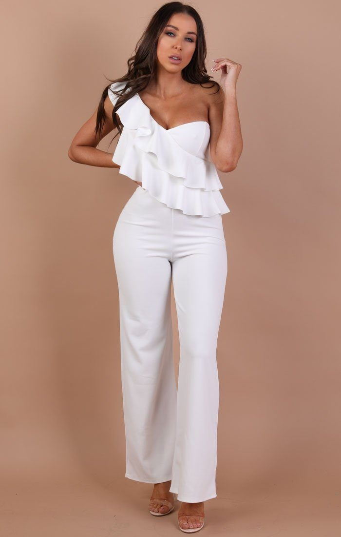 White One Shoulder Frill Jumpsuit – Becca