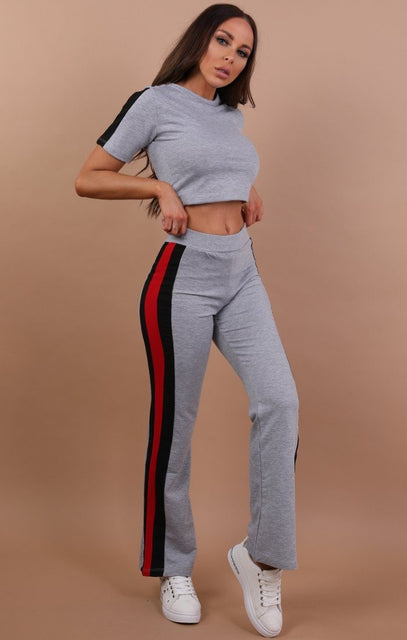 Grey With Red And Black Stripe Loungewear Set - Zoe