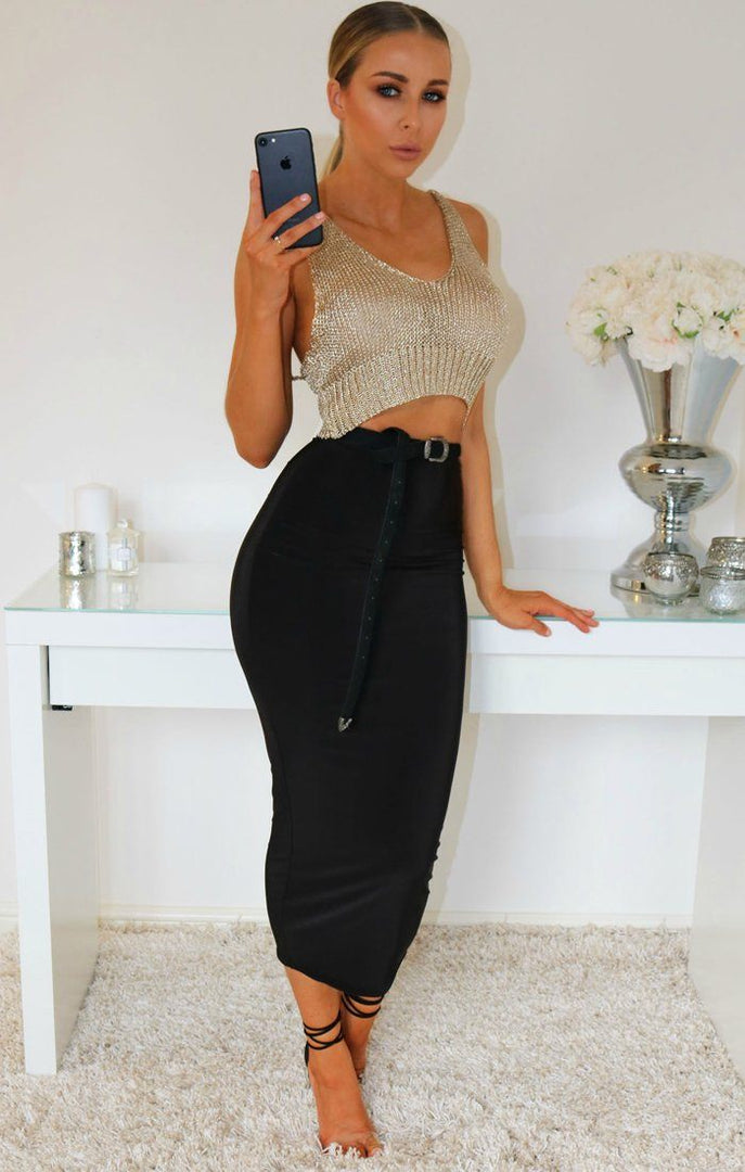 Gold Metallic Knit Crop Top