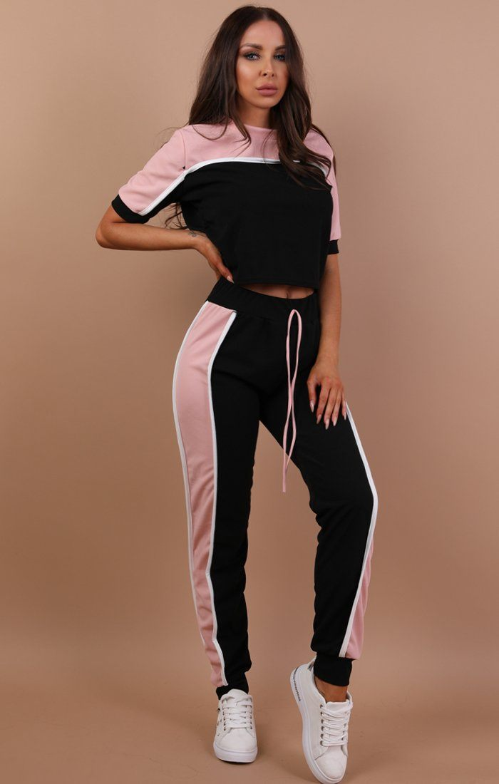 Pink Colour Contrast Loungewear Set - Libby