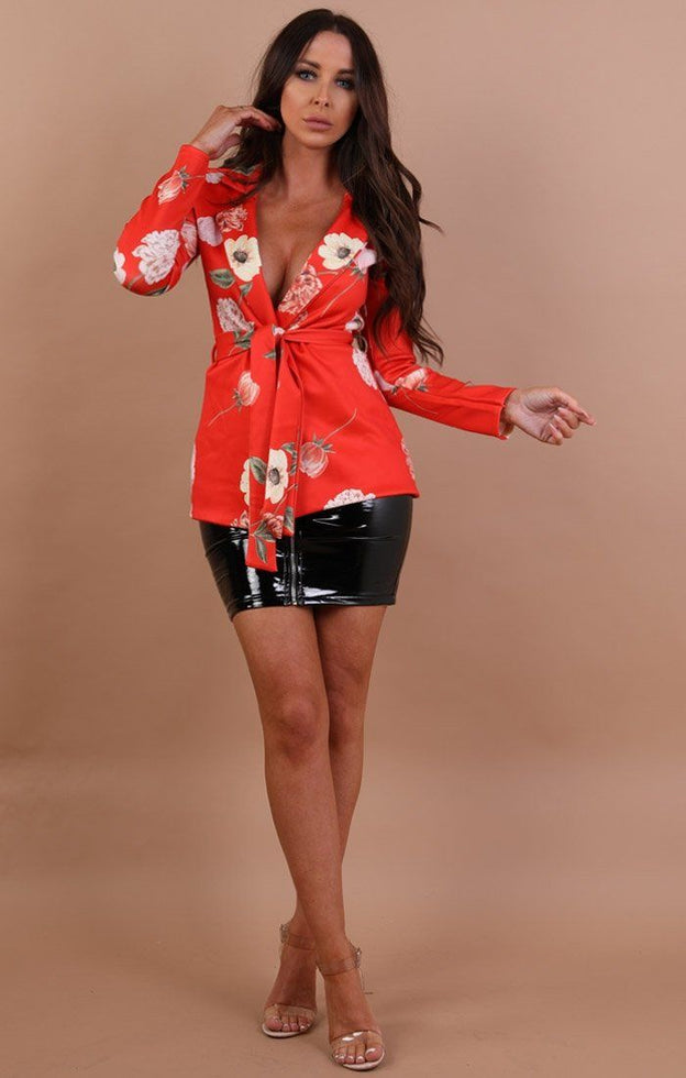 Orange Floral Belted Blazer