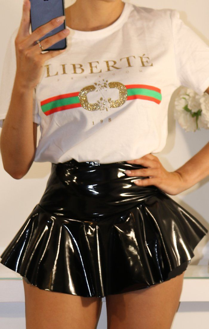Black Pu Layered Frill Mini High Waist Skirt Shorts