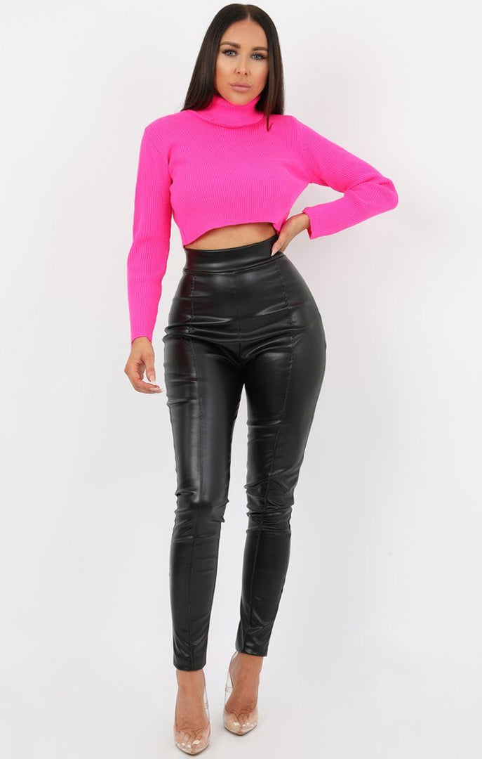 Neon Pink High Neck Ribbed Knit Crop Jumper - Rinah