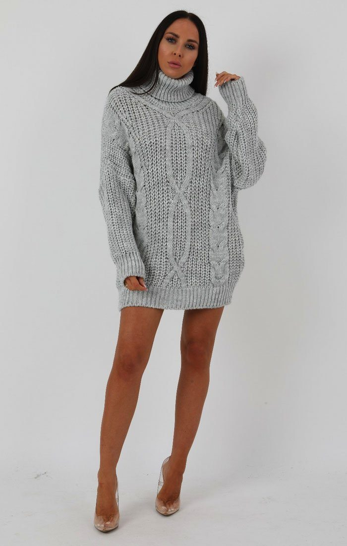Grey Chunky Cable Knit Turtleneck Jumper Dress - Heidi