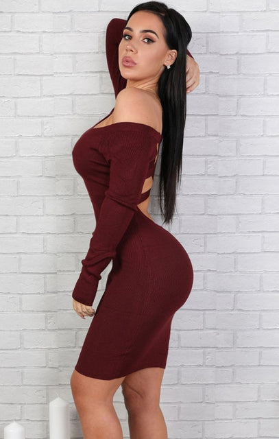 Wine Open Back Bodycon Mini Dress