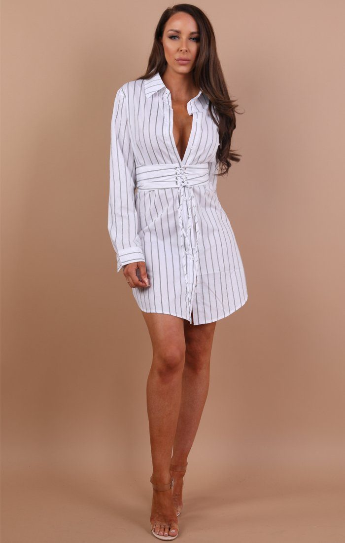 White Stripe Corset Shirt Dress - Tiana