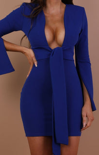 Blue Plunge Front Tie Bodycon Dress – Emilie