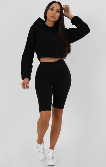 Black Crop Teddy Jumper - Alexi