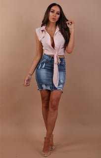 Nude Sleeveless Tie Front Crop Top - Maggie