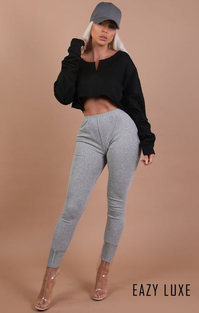 Black Raw Hem V Cut Cropped Sweater Jumper – Ari