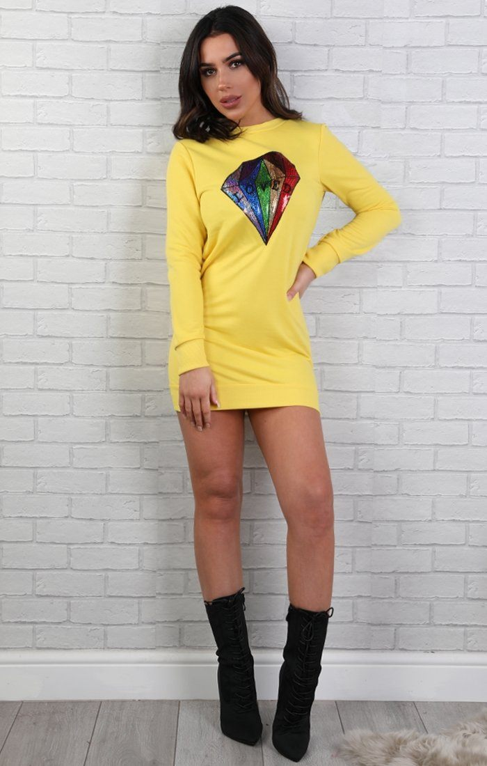 Yellow Sequin Diamond Jumper Dress - Jasmine