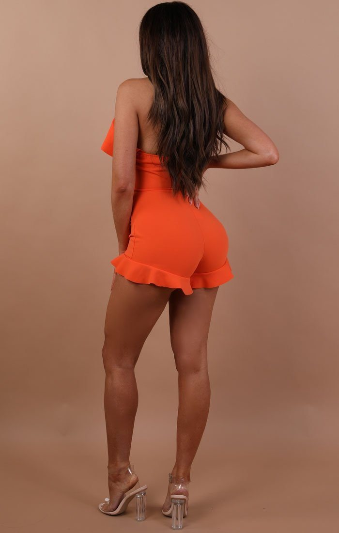 Orange Frill Lace Up Playsuit - Piper