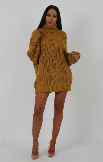 Mustard Chunky Cable Knit Turtleneck Jumper Dress - Heidi