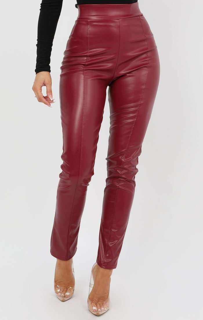 Wine High Waisted PU Leggings - Mimi