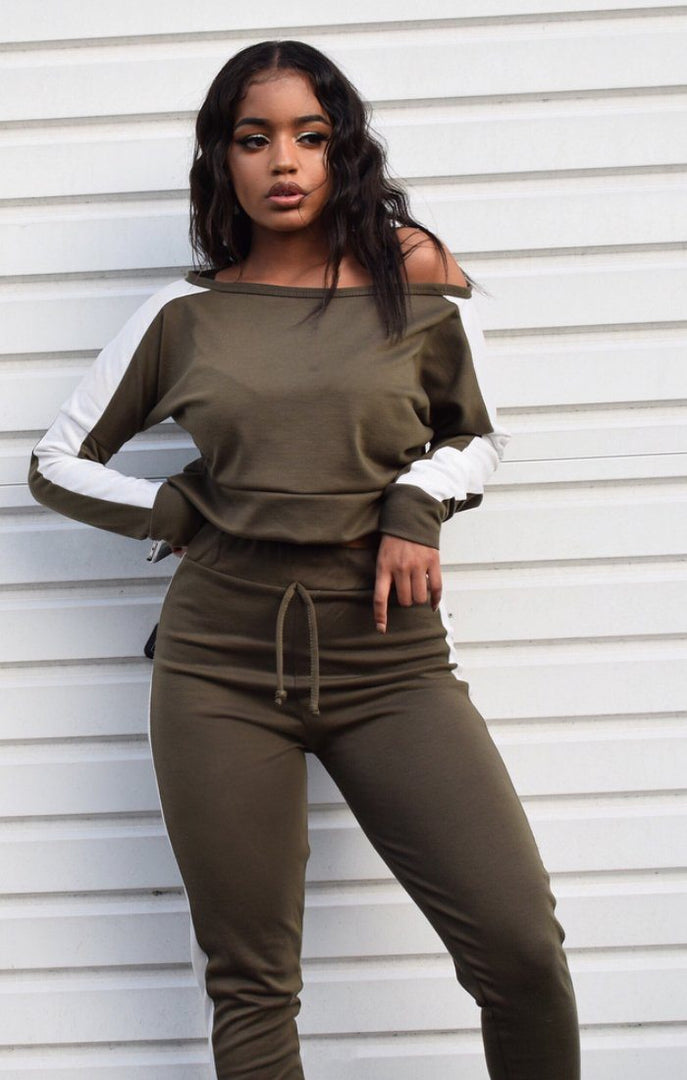 Khaki-with-white-stripe-off-shoulder-loungewear-set