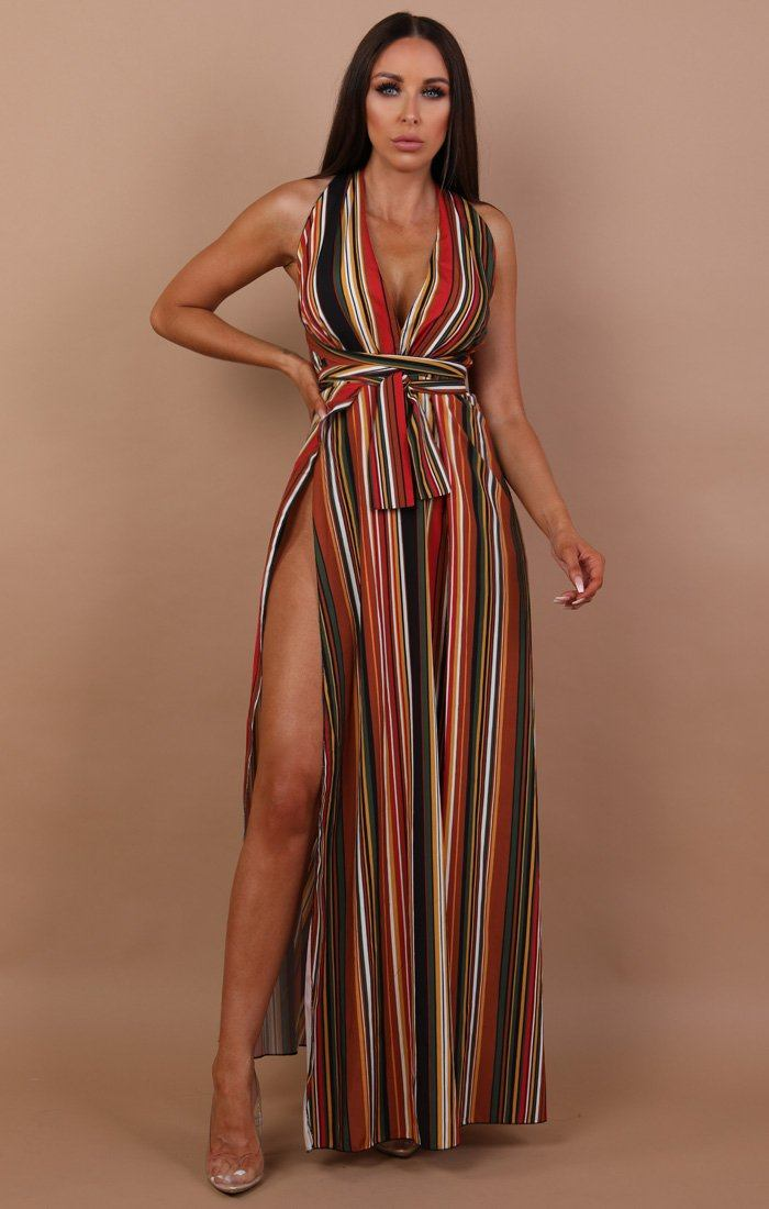 Brown Stripe Contrast Maxi Dress - Melody