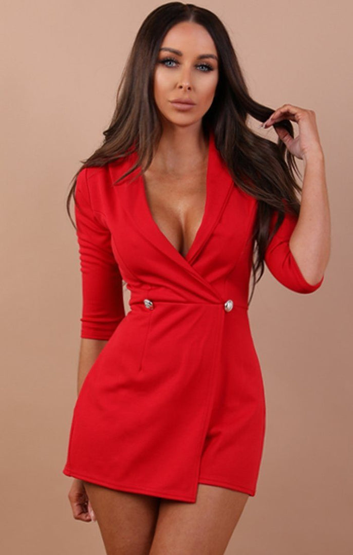 Red Cropped Sleeve Blazer Playsuit - Milly