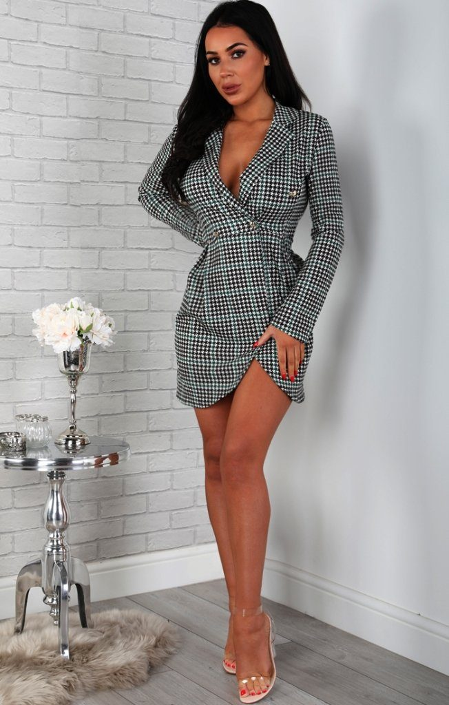 Houndstooth Longline Blazer Dress