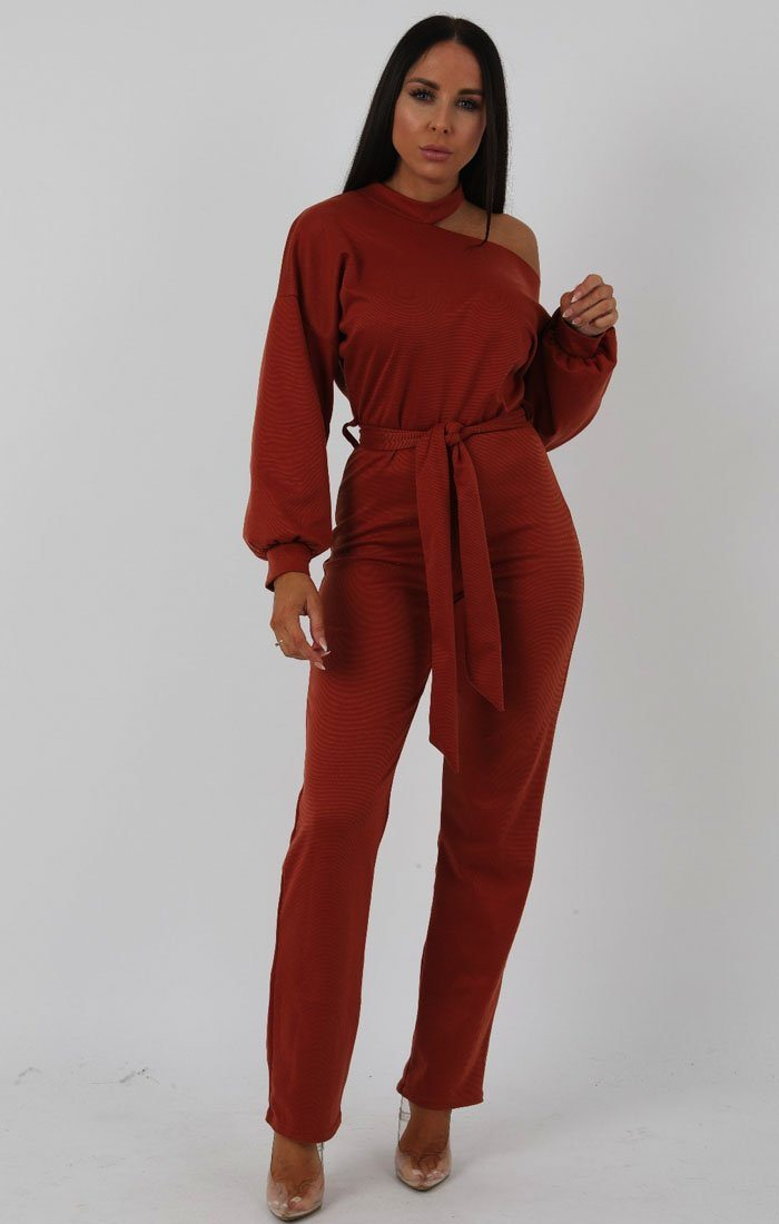 Rust Cold Shoulder Long Sleeve Jumpsuit - Hattie