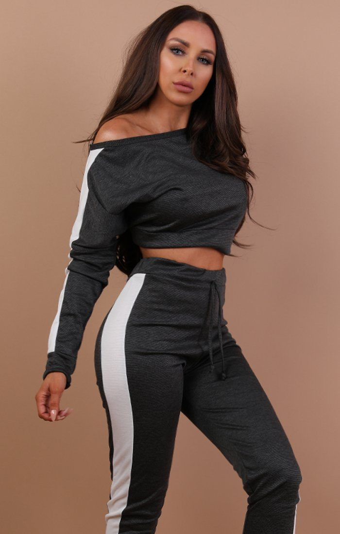 Charcoal With White Stripe Off Shoulder Loungewear Set - Shani