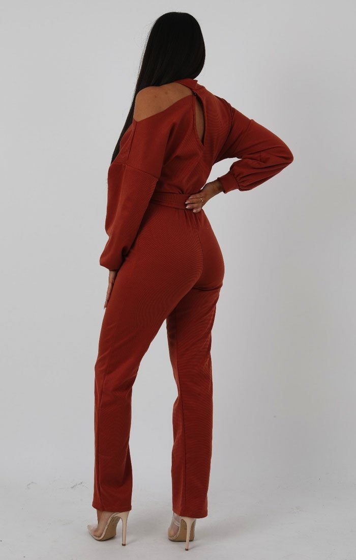 fd06a3b57810 Rust Cold Shoulder Long Sleeve Jumpsuit | Jumpsuits | Femme Luxe ...