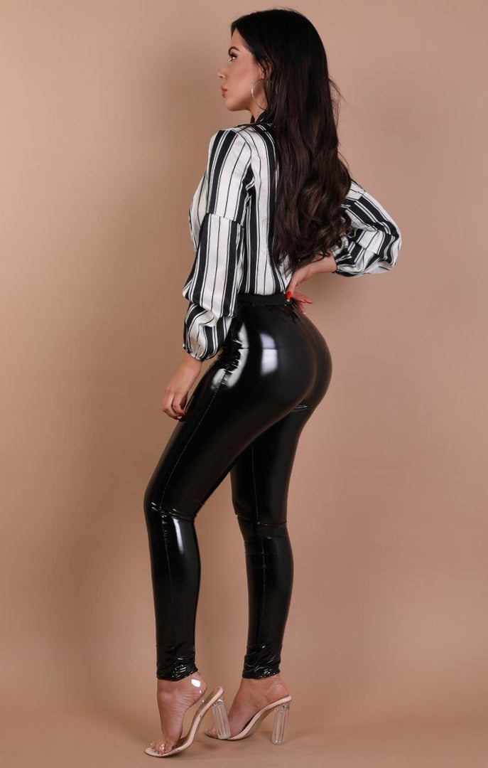 Black and White Stripe Plunge Satin Shirt Bodysuit