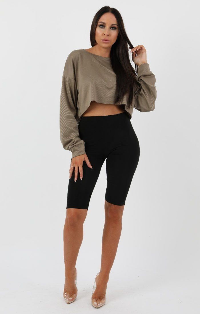 Khaki Crop Sweater Jumper - Angelica sale FemmeLuxe