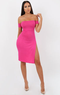 Pink Cuff Detail Split Side Midi Dress - Jennifer