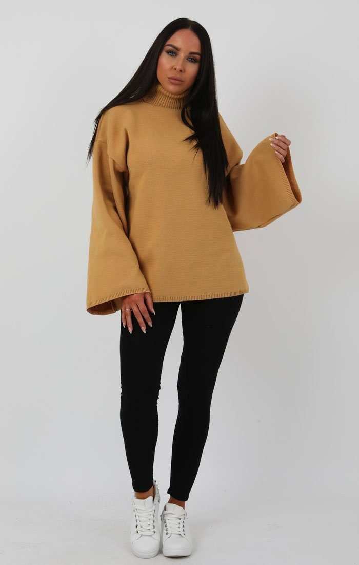Camel Extreme Polo Neck Oversized Jumper - Amber