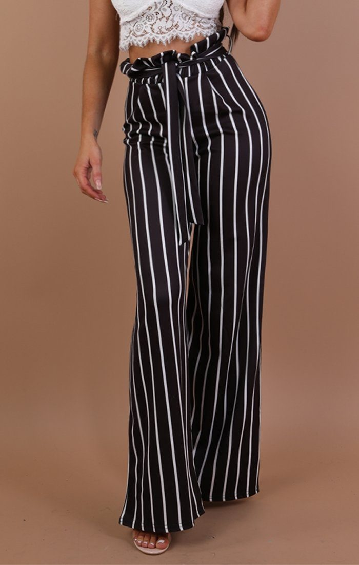 Black Striped Paper Bag Wide Leg Trousers- Emma