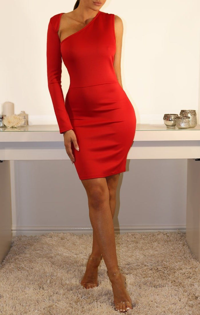Red One Sleeve Cut Out Bodycon Dress