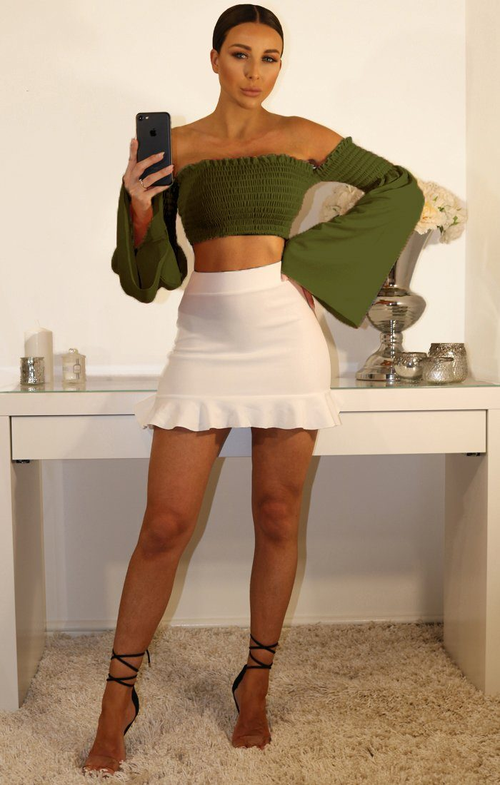 Khaki Bardot Bell Sleeve Crop Top