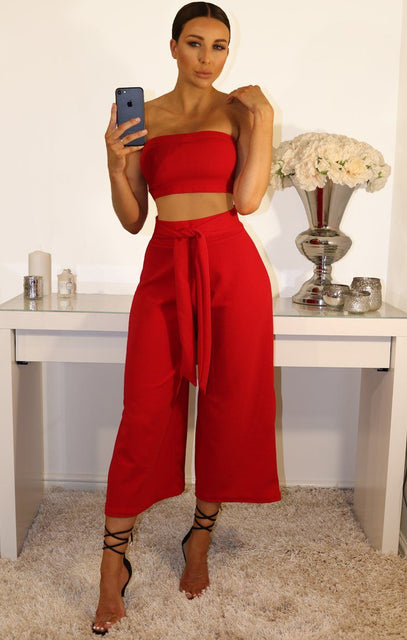 Red Cropped Two Piece Co-ord Set