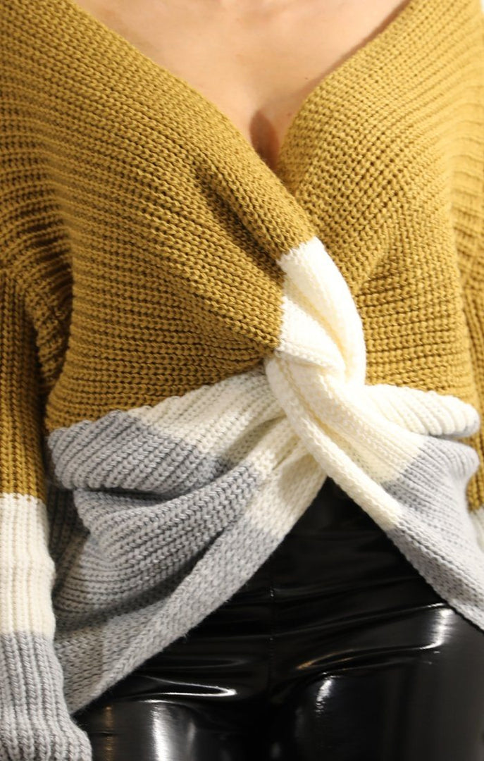 Mustard-Striped-Front-Wrap-Knitted-Jumper