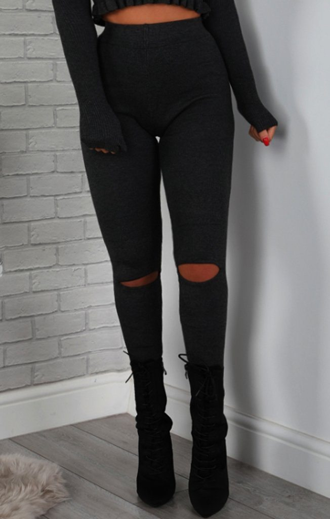 Charcoal Split Knee Leggings
