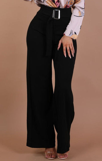Black High Waist Belted Wide Leg Trousers – Tamara