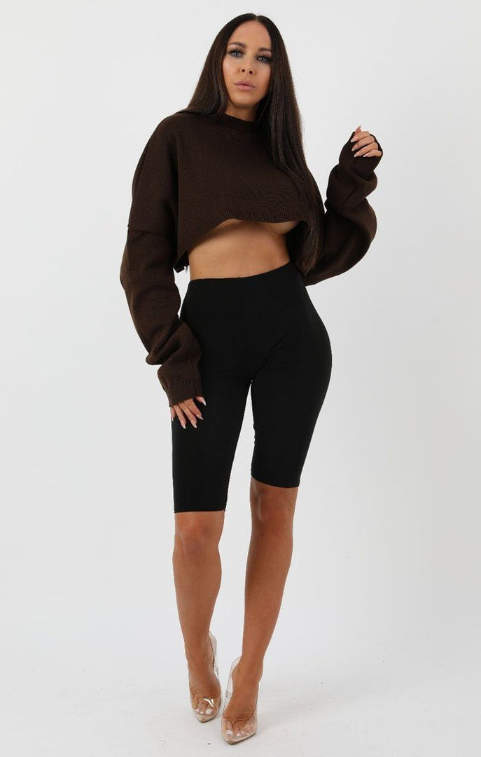 Brown-Ribbed-Knit-Crop-Jumper-Jaya