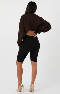 Brown Ribbed Knit Crop Jumper - Jaya