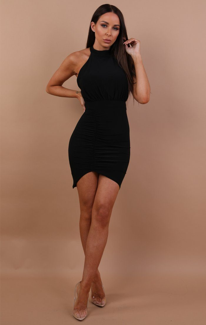 Black-ruched-lace-up-bodycon-dress-mia