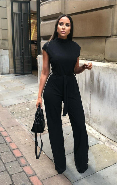 Black High Neck Ribbed Jumpsuit - Yasmine