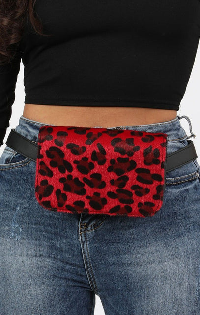Red Animal Leopard Print Two Way Belt and Cross Body Bag - Ashley