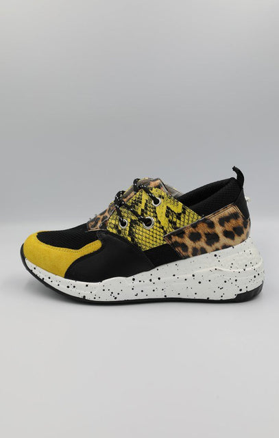 Yellow Animal Print Trainers - Mia