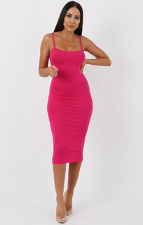 Pink Strappy Bodycon Midi Dress - Poppy
