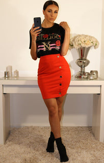 Orange Bodycon Mini High Waist Skirt With Side Buttons