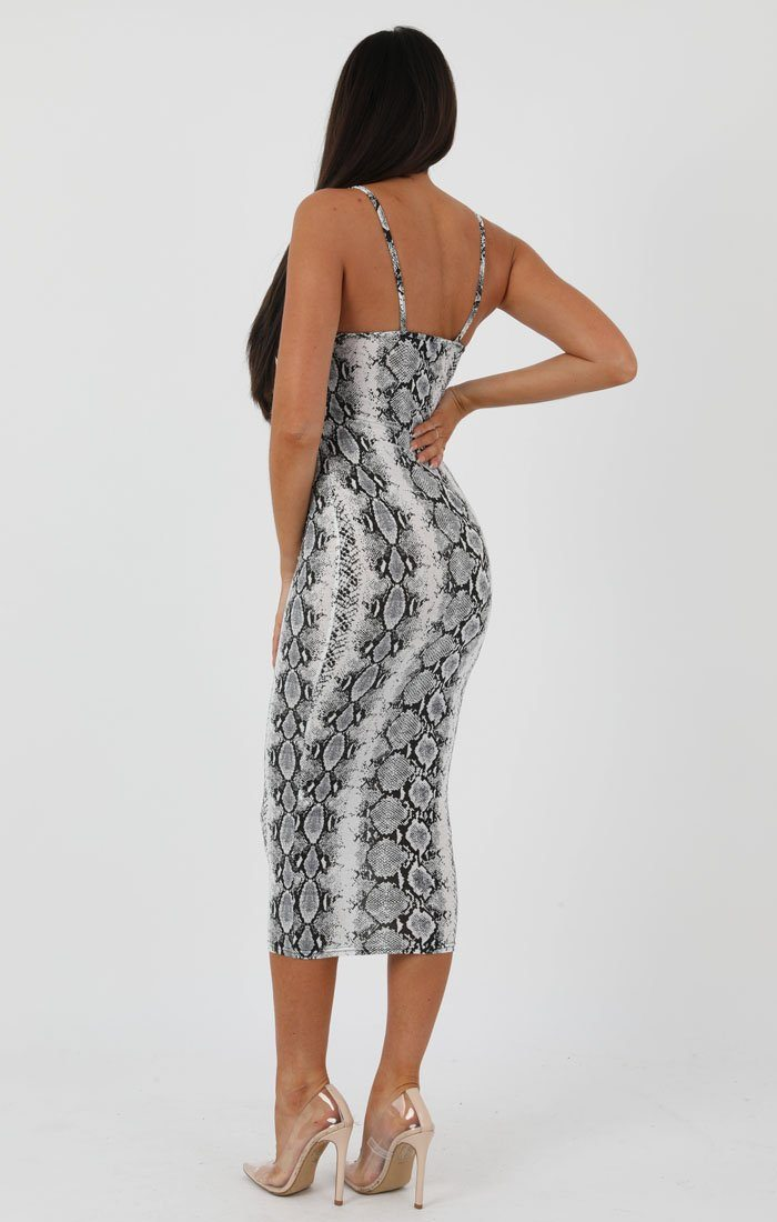 Animal Snake Print Square Neck Strappy Midi Dress - Carly