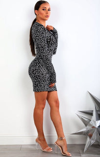 Silver Glitter Mesh Panel Bodycon Dress