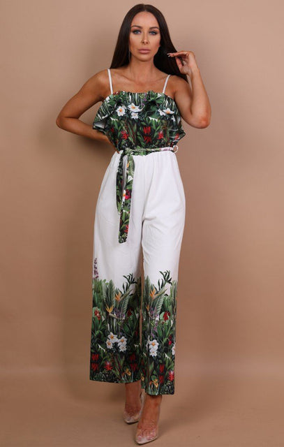 White Tropical Print Jumpsuit - Gracey