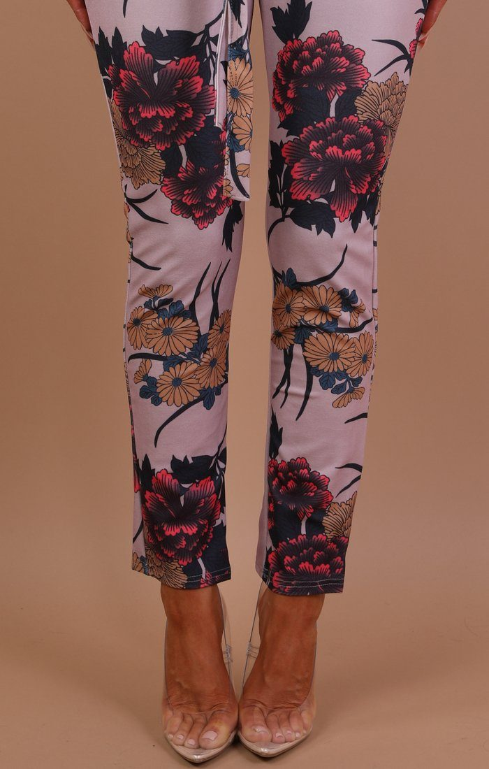 Pink Floral Belted Trousers - Amiee
