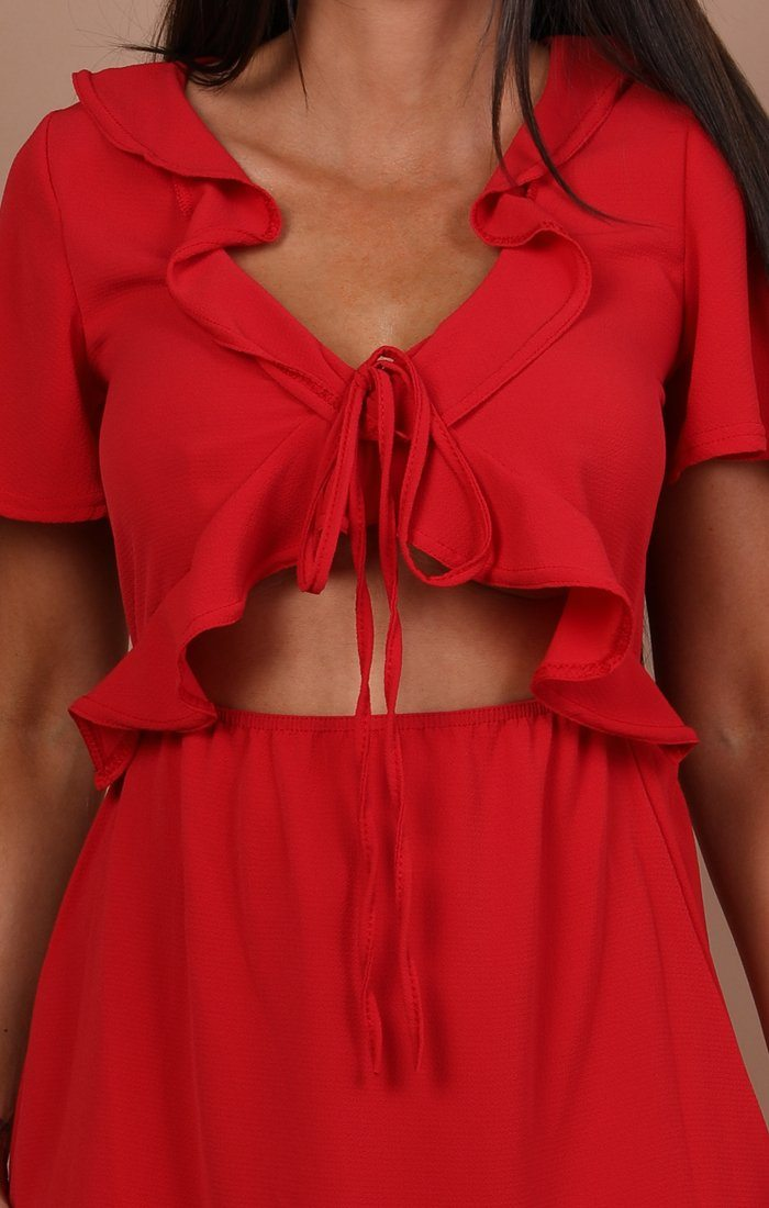 Red Cut Out Frill Detail Dress - Amaria